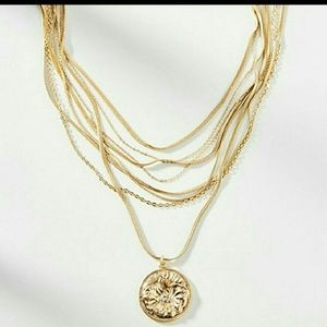 Anthropologie Multi Layer Coin Necklace NWT